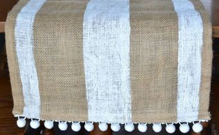 striped burlap table runner with pom trim, crafts