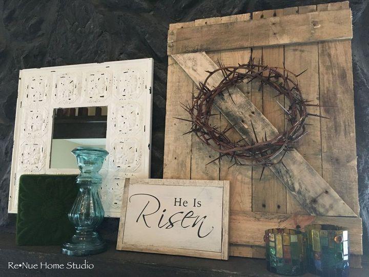diy easter mantel barn door tutorial decoration ideas, easter decorations, fireplaces mantels, seasonal holiday decor
