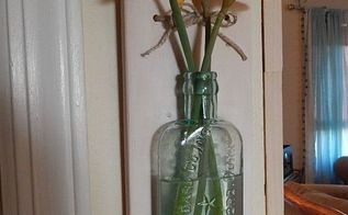 repurposed bottle and scrap wood, container gardening, crafts, flowers, gardening, repurposing upcycling, woodworking projects