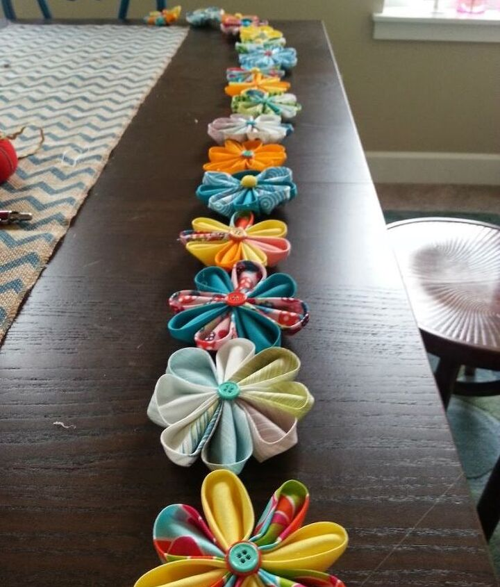 fabric flower garland, crafts, seasonal holiday decor