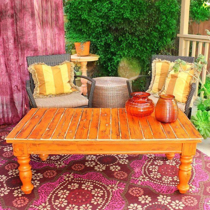 70 s coffee table makeover, chalk paint, outdoor living, painted furniture