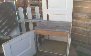 antique door turned into garden storage chair, doors, outdoor furniture, repurposing upcycling, storage ideas