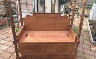 beautiful antique bed turned garden bench, outdoor furniture, repurposing upcycling, woodworking projects