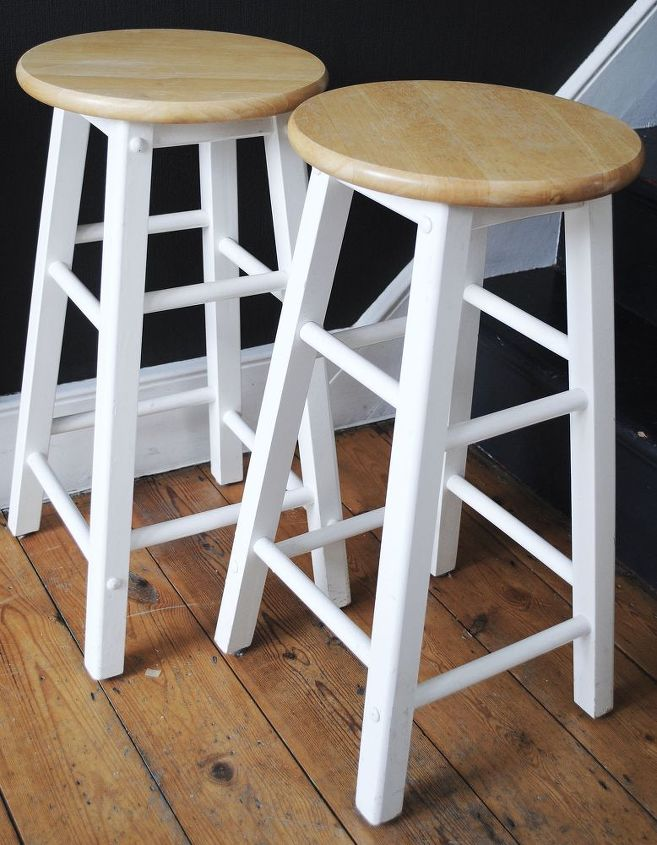 stenciled barstool transformation, painted furniture, Before