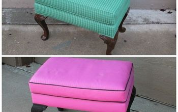 Fab Painted Fabric Footstool