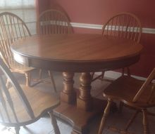 q oak dining table and chairs to paint or not, home decor, home decor dilemma, Table also has two leaves and six chairs total