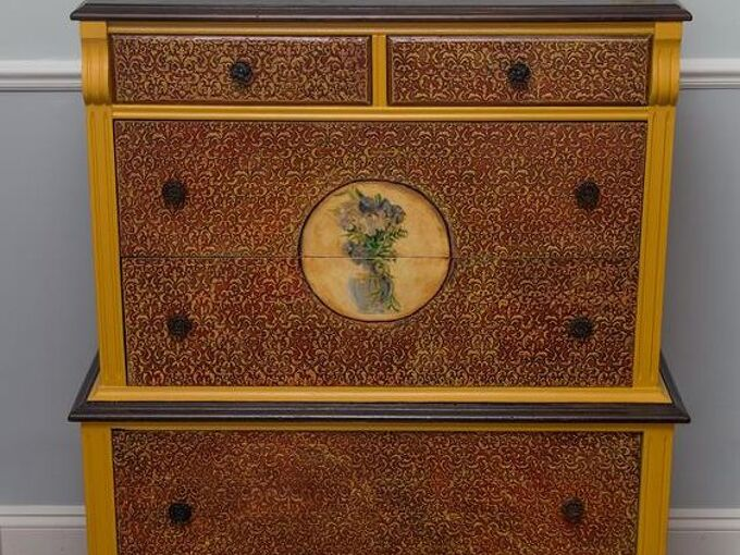 texture and watercolour meet, decoupage, painted furniture