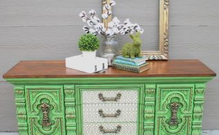 bold green dresser makeover with decoupage drawers, decoupage, painted furniture