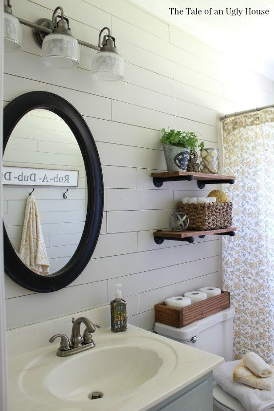 A Farmhouse Bath Makeover Cheapest Shiplap How To Hometalk