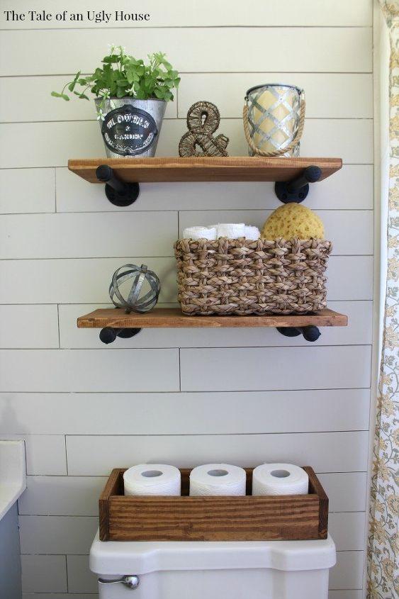 A FarmHouse Bath Makeover Cheapest Shiplap HowTo Hometalk Simple Cheap Bathroom Makeover