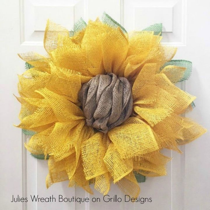s 31 gorgeous spring wreaths that will make your neighbors smile, crafts, seasonal holiday decor, wreaths, Craft a sunflower from burlap