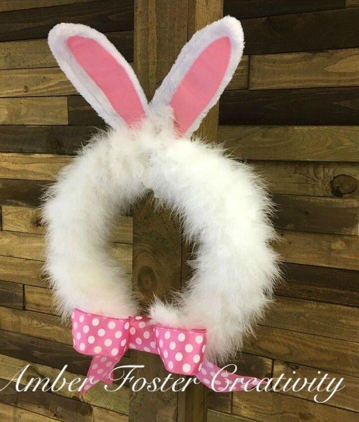 s 31 gorgeous spring wreaths that will make your neighbors smile, crafts, seasonal holiday decor, wreaths, Make a fluffy bunny wreath in 5 minutes