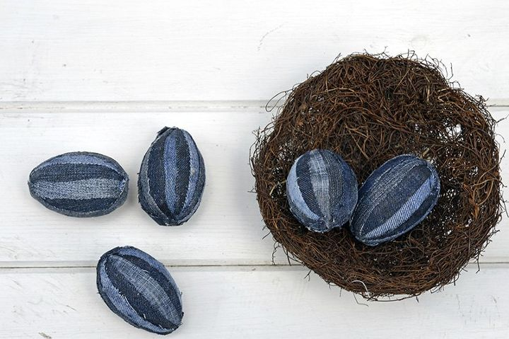 rustic upcycled denim easter eggs, crafts, decoupage, easter decorations, how to, repurposing upcycling, seasonal holiday decor