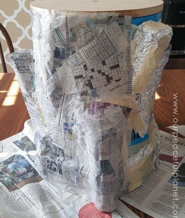 paper mache tree stump stool, crafts, painted furniture