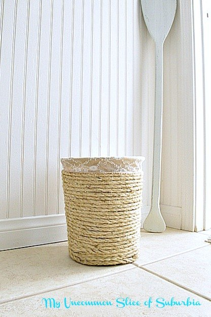 Thrifty Makeover Nautical Trashcan With Rope Bathroom Ideas Crafts Repurposing Upcycling
