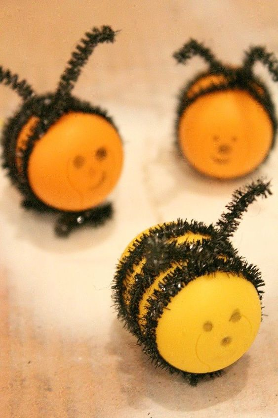 diy bees kids craft out of kinder eggs, crafts, repurposing upcycling