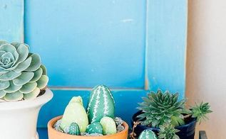 diy painted cacti rocks, crafts, gardening, how to, repurposing upcycling