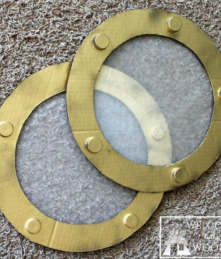 cardboard ship wheel fake portholes, crafts, wall decor