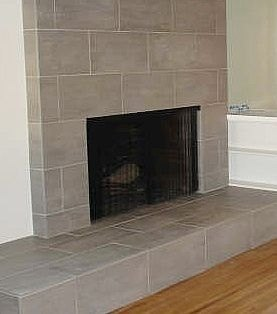 Tile Fireplace Hearth With Large Rectangle