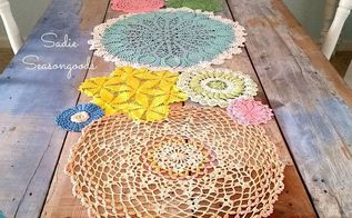 spring doily table runner, crafts, repurposing upcycling