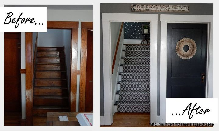 Farmhouse Stairway Makeover Foyer Stairs Reupholster Wall Decor