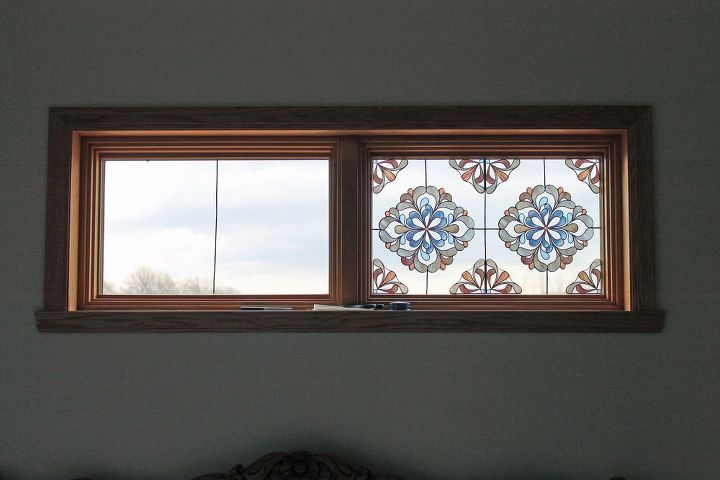 stained glass look alike, bedroom ideas, wall decor, window treatments, windows