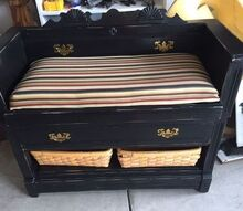 repurposed dresser to bench, chalk paint, outdoor furniture, painted furniture, repurposing upcycling