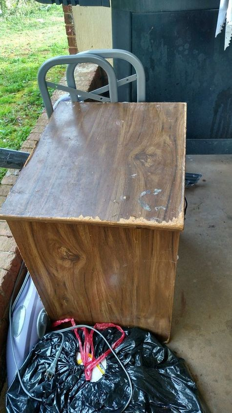 q i have a old night stand with one drawer then self at bottom, repurpose furniture, repurposing upcycling, The top of the night stand