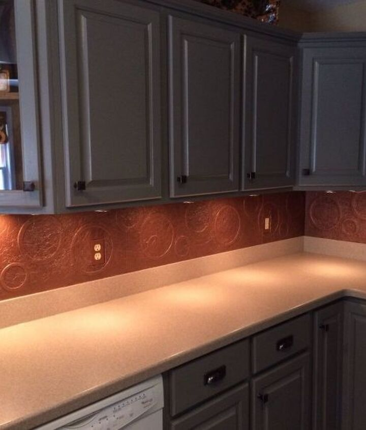 s 13 incredible kitchen backsplash ideas that aren t tile, kitchen backsplash, kitchen design, Mold a copper finish with foam board foil