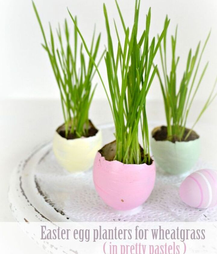 easter egg planters for wheatgrass in pretty pastels, crafts, easter decorations, gardening, seasonal holiday decor