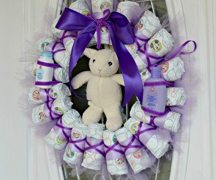 diy diaper wreath tutorial, crafts, repurposing upcycling, wreaths
