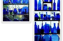 cobalt glass in kitchen window project, home decor