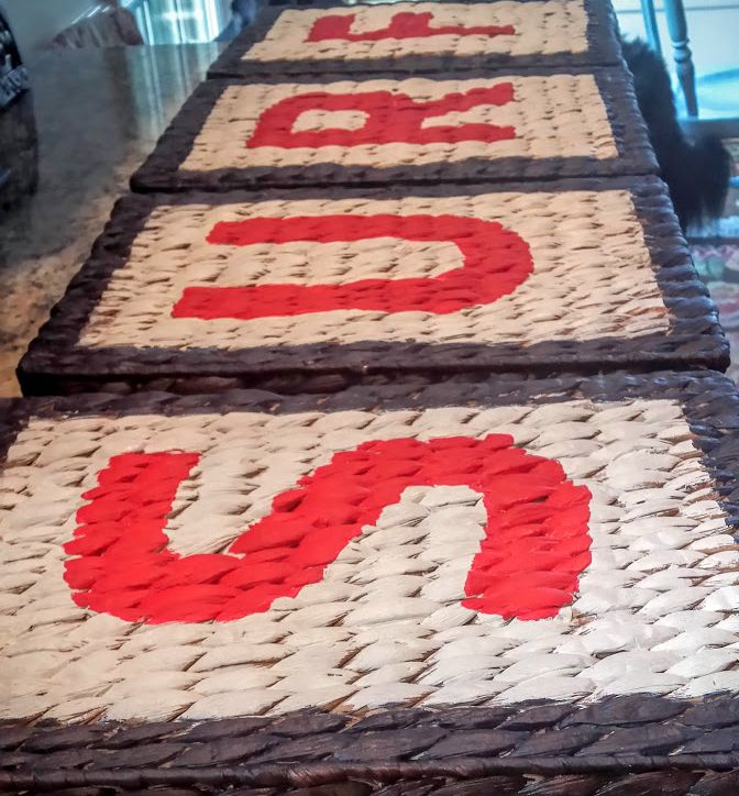 diy stencil sign using letter trays as a canvas, crafts, repurposing upcycling, wall decor