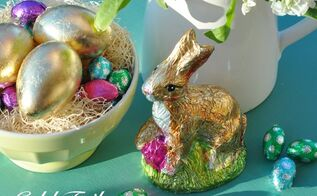 gold leaf easter eggs, crafts, easter decorations, seasonal holiday decor