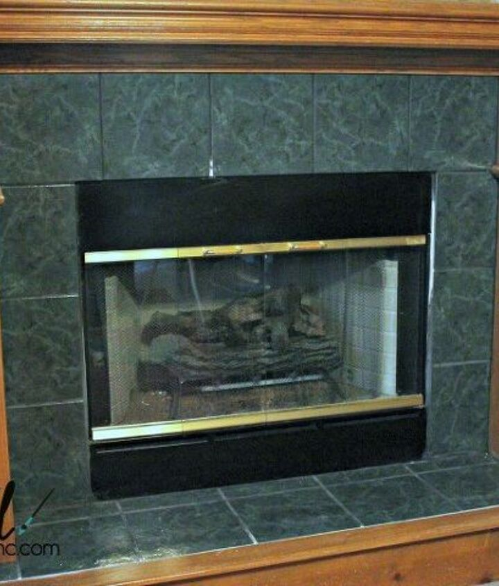 update your brass fireplace trim and outdated fireplace tile, fireplaces mantels, how to, painting