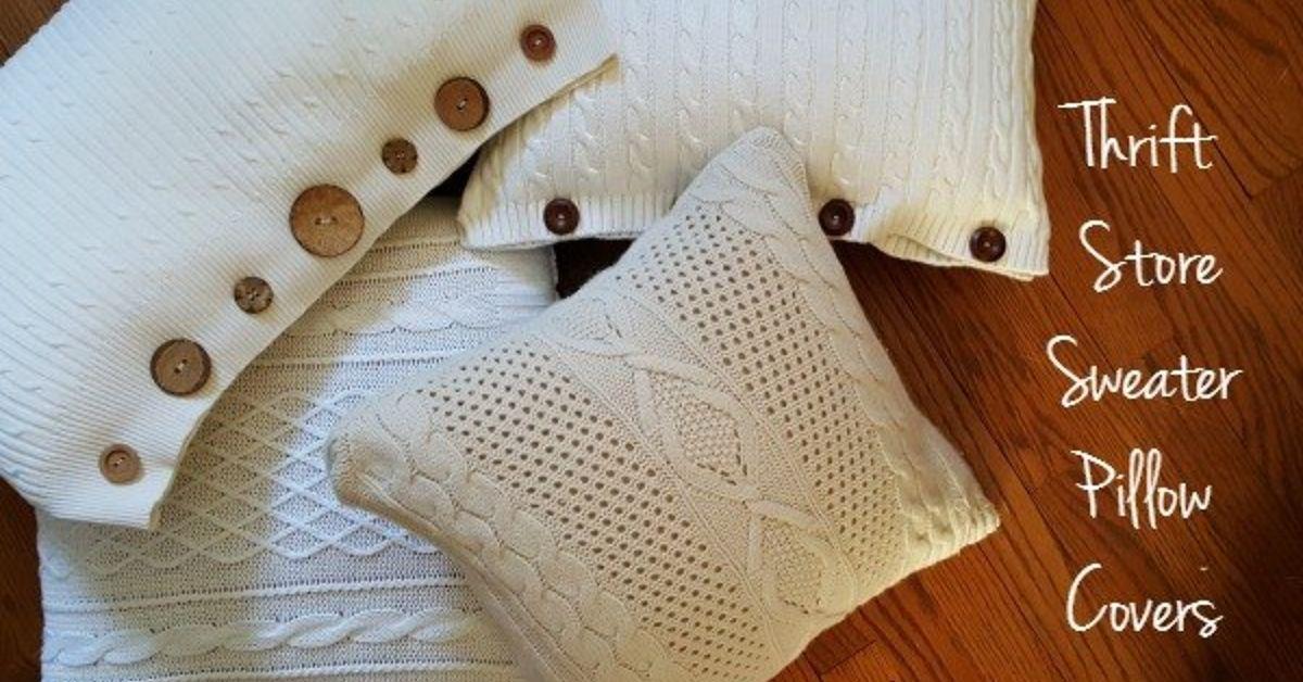 Thrift Store Sweater Pillow Covers Tutorial Hometalk
