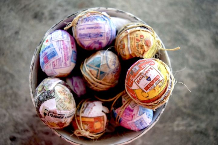s 25 quick easter egg ideas that are just too stinkin cute, crafts, easter decorations, Plaster eggs in printed vintage labels