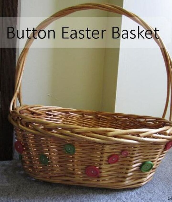 diy button easter basket, crafts, easter decorations, seasonal holiday decor