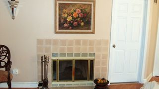 update your brass fireplace trim and outdated fireplace tile, fireplaces mantels, how to, painting, Before no mantel tan everything