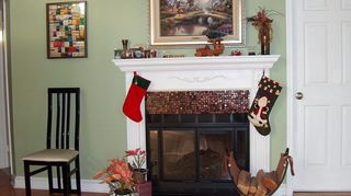update your brass fireplace trim and outdated fireplace tile, fireplaces mantels, how to, painting, After including different wall paint