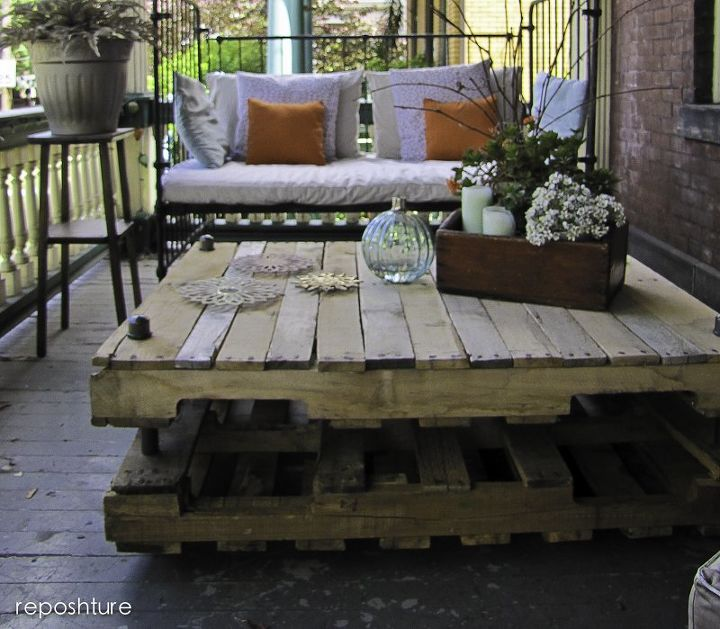s 15 pallet coffee tables that look way too good to be diy, painted furniture, pallet, Stack two pallets PVC for industrial charm