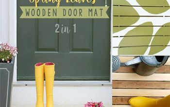 Spring Leaves Wooden Door Mat