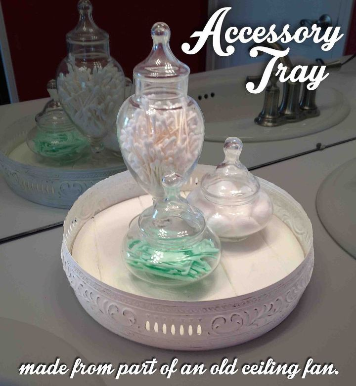 a part from a ceiling fan is transformed into an accessory tray, organizing, repurposing upcycling