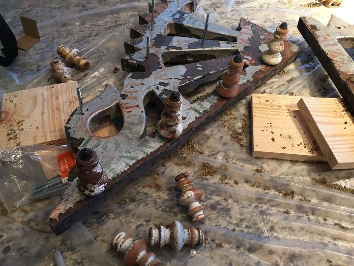 Then we bolted the spindles on the bric brac.