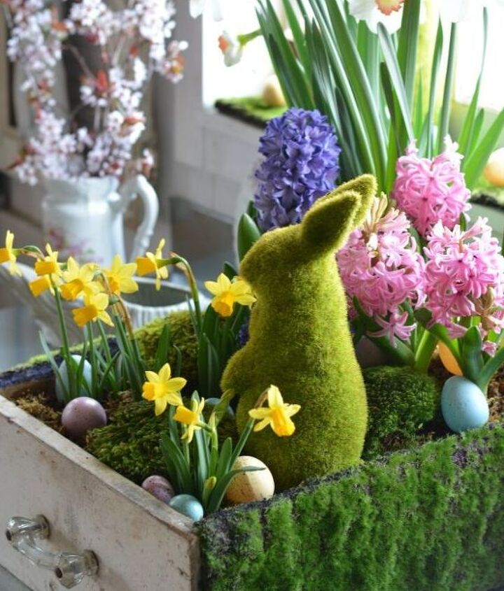 tabletop gardening and spring in a drawer, container gardening, easter decorations, gardening, seasonal holiday decor