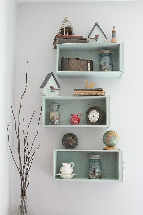s 19 clever shelving ideas that aren t actually shelves, repurposing upcycling, shelving ideas, Use old abandoned drawers