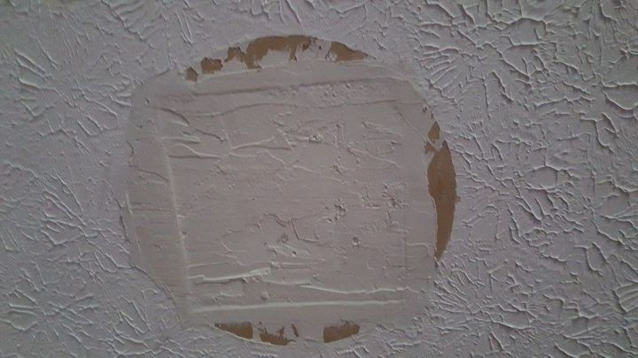 q removed wood burner now a patch on ceiling, cleaning tips, house cleaning, wall decor