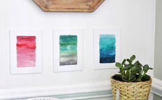 ombre watercolor canvas diy, crafts, how to, wall decor