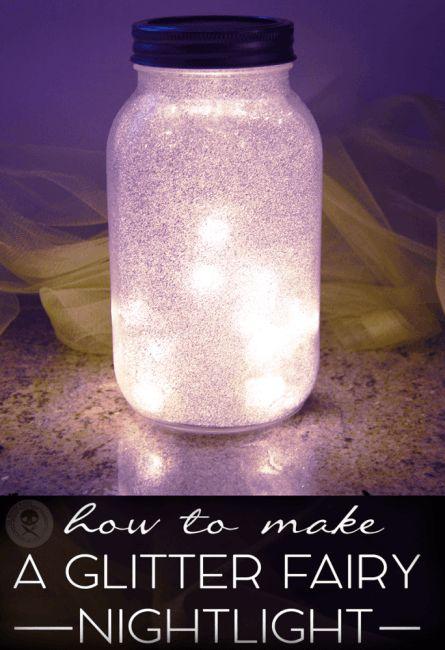 diy glitter fairy mason jar light, crafts, mason jars