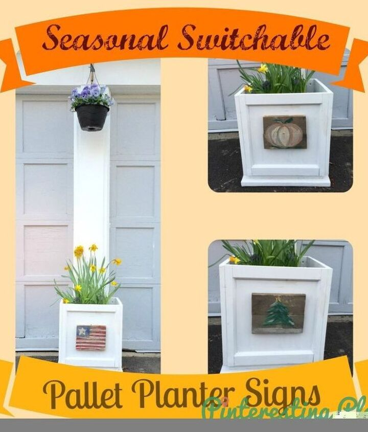 diy pallet seasonal planter signs, container gardening, diy, gardening, pallet, woodworking projects